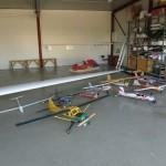 Verkstedet er nå omgjort til modellflyhangar